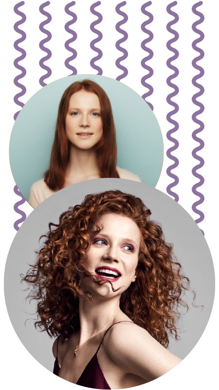 Curlformers® Corkscrew curl before and after