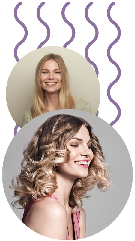 Curlformers® Barrel curl before and after