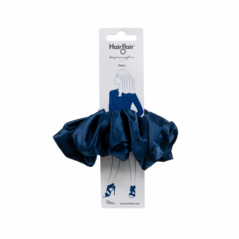 Paris Navy Blue Satin Oversized Scrunchy