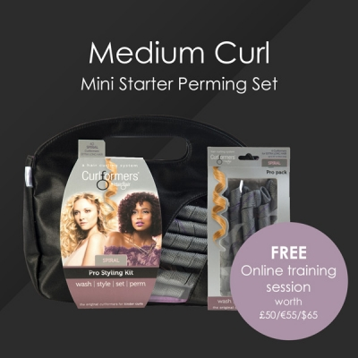 HairFlair Pro Medium Curl Mini Starter Perming Set, comprising Spiral Curlformers® Styling Kit and Top up Pack with a FREE Online Training session