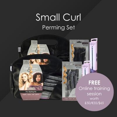 HairFlair Set de permanente Pro Small Curl, que incluye sacacorchos Curlformers® Kit de peinado y paquete de recarga, espiral Curlformers® Kit de peinado y paquete de recarga, dos ganchos de peinado adicionales con una sesión de capacitación en línea GRATUITA