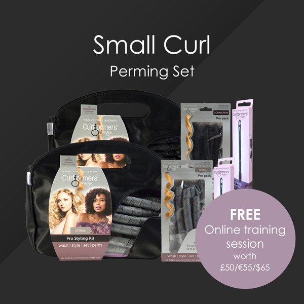HairFlair Pro Small Curl Perming Set, comprising Corkscrew Curlformers® Styling Kit and Top up Pack, Spiral Curlformers® Styling Kit and Top up Pack, two additional Styling Hooks with a FREE Online Training session