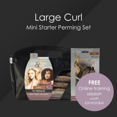 HairFlair Pro Large Curl Mini Starter Perming Set, comprising Barrel Curlformers® Styling Kit and Top up Pack with a FREE Online Training session