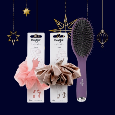 Capri and Vienna Scrunchies Gift Set with FREE Style & Shine Oval Brush