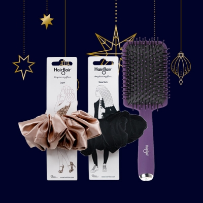 Capri and New York Scrunchies Gift Set with FREE Style & Shine Paddle Brush