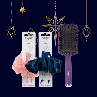 Paris and New York Scrunchies Gift Set with FREE Style & Shine Paddle Brush